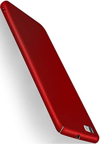 MoEx® Cover Ultra-Sottile Compatibile con Huawei P8 Lite 2015 | Rigida/Anti-graffio, Rosso Metallico