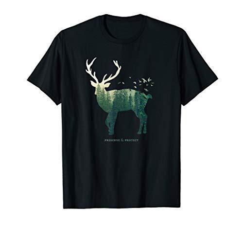Hirsch Silhouette Wald T-Shirt Umweltschutz Klimaschutz T-Shirt