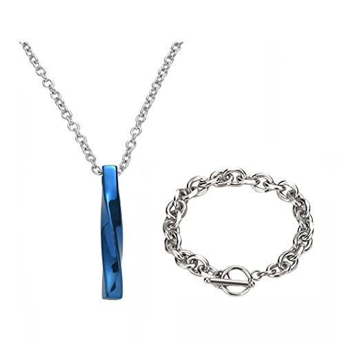 ネックレス チェーンブレスレット ステンレス鋼 シンプルさ メンズ レディース アクセサリー 2個セット (21cm, ブルー)