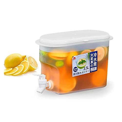 zb0314 Dispensador de agua para nevera Hervidor de agua fría, Jarra de agua con grifo Zumo de limón, Dispensador de bebidas de 3,5 l con tapa, Dispensadores de bebidas heladas de 3500 ml, para jugo, t