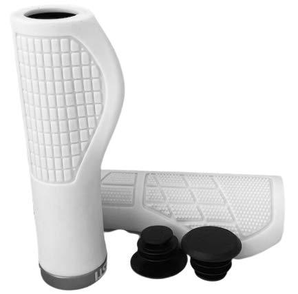 Asti Bicycle Handlebar Grips – Ergonomic Bike Grips, Comfort & Heavy Duty, Shock Absorbing and Non-Slip for BMX, Mountain, MTB, Beach Cruiser, Scooter, Folding Bike, Easy Installation (White)