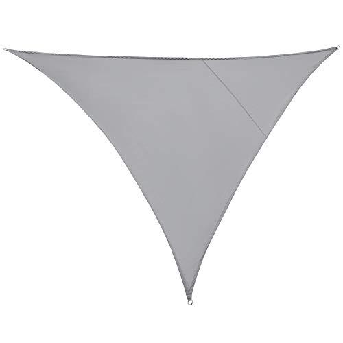 Outsunny Vela Ombreggiante Triangolare, Tenda da Sole per Esterno in Poliestere Anti UV Traspirante 4x4x4m Grigio
