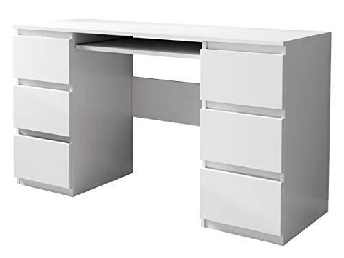 Mirjan24 Schreibtisch Glen, 6 Schubladen Schülerschreibtisch Computertisch Arbeitstisch Kinderschreibtisch PC-Tisch Kinderzimmer Jugendzimmer (Weiß)