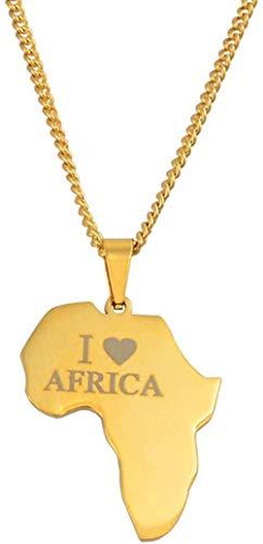 Collar Collares De Cadena con Colgante De Mapa De África De Color Dorado para Mujeres Y Niñas, Regalos De Joyería De Mapas Africanos De Acero Inoxidable 60Cm