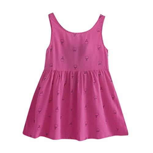 IMJONO Été Robe de Princesse Filles Coton Robe à Fleurs Bébé Fille Cadeau Enfants Fête Mariage sans Manches Robes pour 2020 Tenue d'été pour Enfants 2-7 Ans(Rose Vif,3-4 Ans