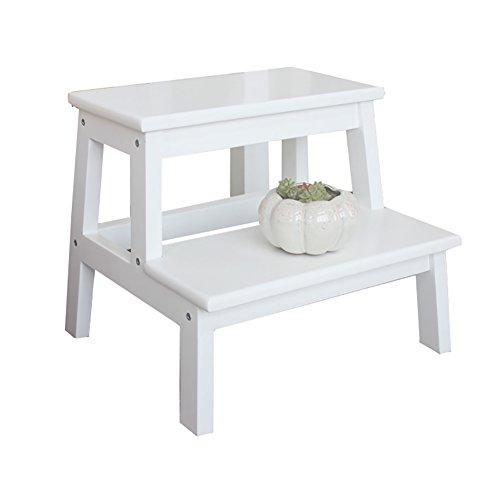 Tritthocker Weiß 2 Tread Schritt Hocker für Erwachsene & Kinder Küche Holz Leitern Kleine Fuß Hocker Indoor Portable Blumen Rack/Schuh Bank/Lagerregal (größe : 39.5 * 35 * 35cm)