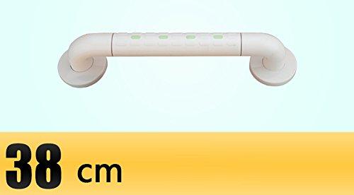 Salle de bain lumineuse avec accoudoirs de sécurité toilette accessible toilette toilette baignoire antidérapante acier inoxydable personnes âgées handicapées (Couleur : Blanc, taille : 38 cm)