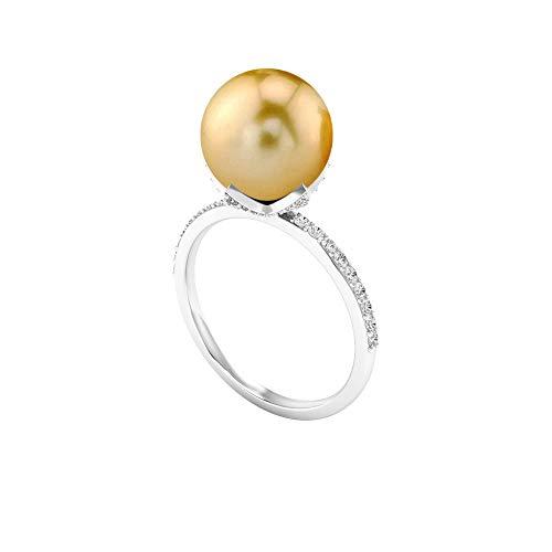 7.75 CT Anillo solitario de diamantes y perlas de Tahití (10 mm, perla de Tahití), 14K Oro blanco, perla tahitiana, Size:US 70