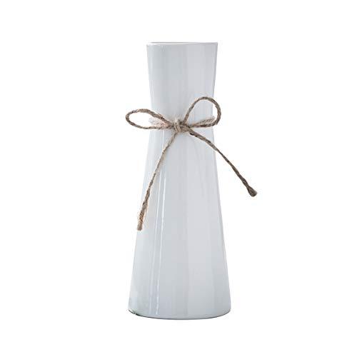 I3C Keramik Blumenvasen Premium Vase Weiß Tischvase Blumen Pflanzen Tischdeko Vase Deko Zum Muttertag Höhe Handgefertigte Deko-Vase aus Hochwertigen Keramik Moderne Blumenvase Weiß Deko Vasen (H:22cm)