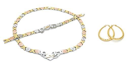 Bling Bling NY Women's Tri Tone I Love You Starburst Hugs & Kisses Necklace Bracelet Earrings Set 14K Gold Filled Medium Oval Hoops XOXO 18-20 inches (Necklace 20'', Bracelet 7.5'' & Earring Set)