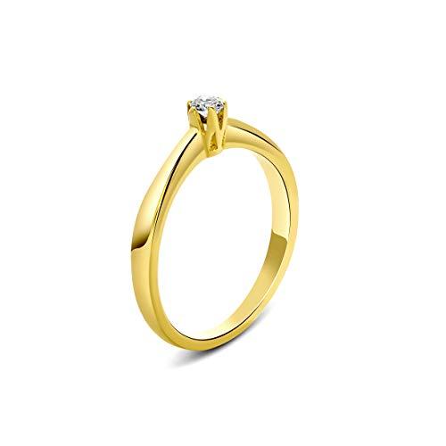 Miore Ring Damen 0.09 Ct Solitär Diamant Verlobungsring aus Gelbgold 9 Karat / 375 Gold, Schmuck