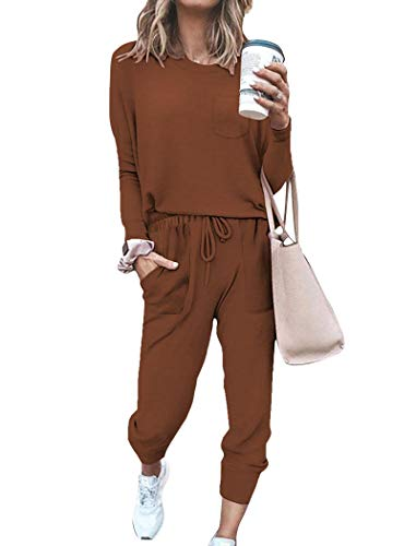 Comfy Sweatsuits Sets for Women 2 Piece Outfits Lounge Sets Fashion Clothes Brown 2XL