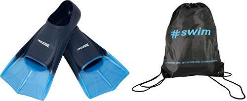 SET - Aqua Speed HIGH TECH Pinne di nuoto brevi per Adulti e Bambini + ULTRAPOWER #SWIM Zaino di Cordone | Uomini | Donne | Ragazze | Ragazzi | Pinne allenamento | Pinne per immersione | Alette formazione | Taglie 33-48, Model:blu / azzurro / 02, Formato del pattino:39/40