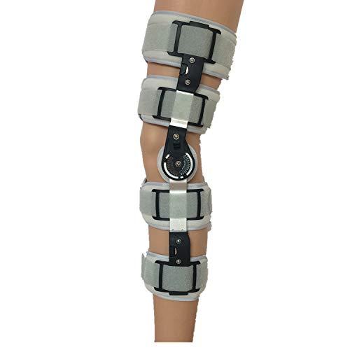 Candyana Soporte de Rodilla con bisagras Brace Bisagras Dobles y Correas Cruzadas Ajustables Ayuda a la Rodilla estabilizada para desgarro de Artritis/LCA/menisco,Gray,S