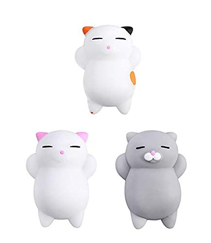 3Pcs Mini Kawaii suave Cat pollo cierre elástico Squishy juguete con caja mochi Squeeze Toy Stress Reliever