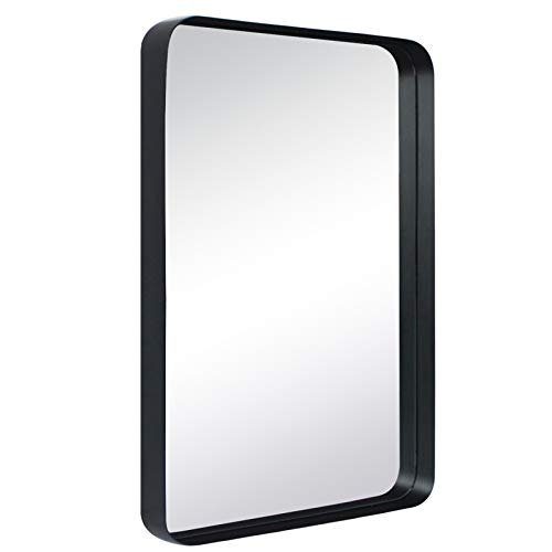 TEHOME 20x30 Black Metal Framed Bathroom Mirror for Wall in Stainless Steel -