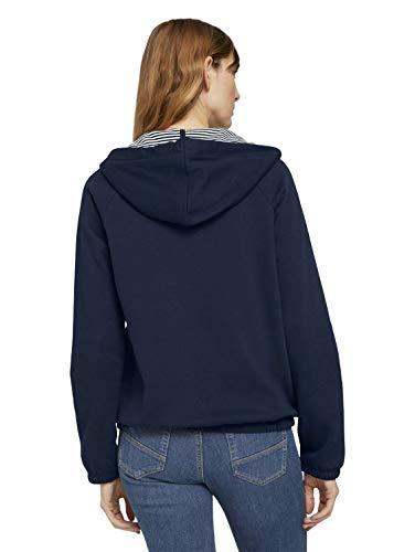 TOM TAILOR Damen Strick & Sweatshirts Sweatjacke mit Kapuze Sky Captain Blue,L,10668,6000