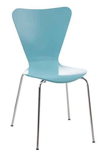 CLP Konferenzstuhl Calisto mit Holzsitz und stabilem Metallgestell I Platzsparender Stuhl mit Einer Sitzhöhe von: 45 cm, Farbe:hellblau
