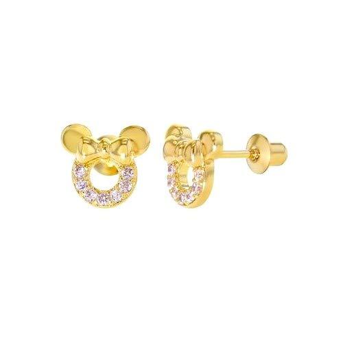 Pendientes de tuerca con diseño de Minnie para bebé o niño, rodiado, tono oro y cristales rosa