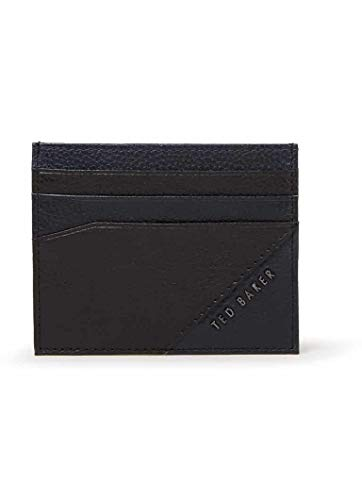 TED BAKER LONDON - BIGLOW BLACK TWO TONE GRAINED LEATHER CARD HOLDER