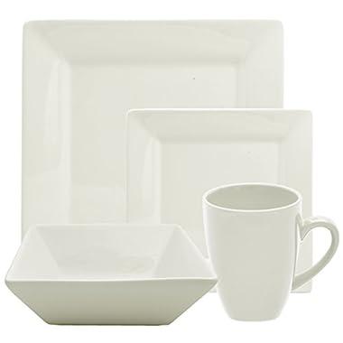 10 Strawberry Street 16 Piece Square Dinnerware Set, Cream White