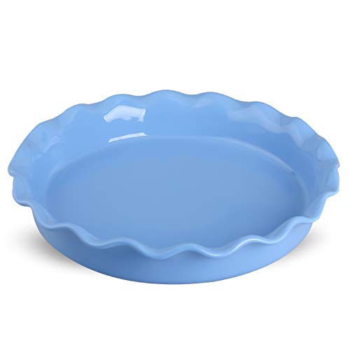 DUS Porcelain Pie Pan Pie Plate Pie Dish Baking Dish Pan with Ruffled Edge for Apple Pie Dessert, Blue