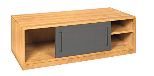 BioKinder Sideboard Bettkasten Kommode mit Schiebetür Lina aus Massivholz Erle und Kiefer 120 x 55 x 40 cm, Front grau lasiert