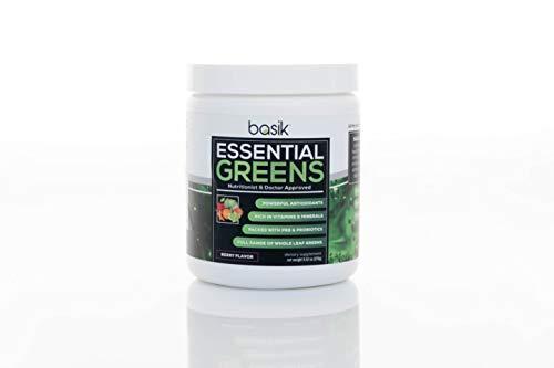 Basik Nutrition Essential Greens Powder - 30 Day Supply - Superfood Supplement with Probiotics - 9.74 oz (Raspberry Lemon Flavor)