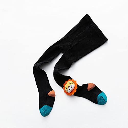GLBS Muñeca De Dibujos Animados Medias De Bebé A Juego Color Mallas Recién Nacidas Mantenga Cálido Leggings Leggings De Algodón Leggings De Bebé De 1 A 10 Años (Color : Black, Size : L)