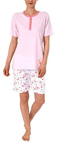 Damen Shorty Pyjama Schlafanzug Kurzarm,Top mit Knopfleiste und süssem Flamingo-Motiv - 191 205 90 104, Farbe:rosa, Größe2:44/46