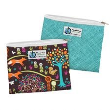 Planet Wise Reusable Zipper Sandwich Bags, 2-Pack, Drip Drop and Jewel Woods