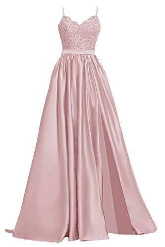 Apxpf Damen Spitzen-Ballkleid, lang, aus Satin, mit Schlitz, formelle Abendkleider mit Taschen - Pink - 32