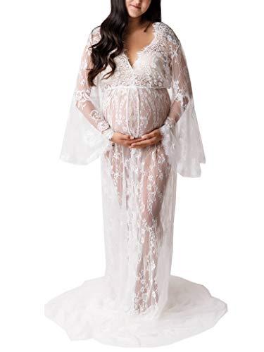 Arbres Umstandsmode Spitzenkleid Schwangerschaftskleider Fotoshooting,Maternity Gown Split Front Fotografie Stützen Kleid (Weiß)