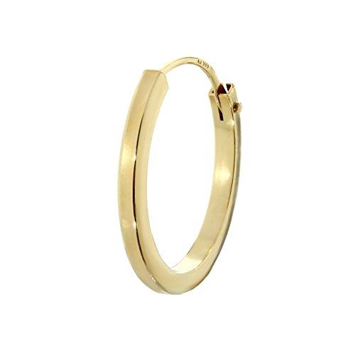 NKlaus Einzel 585er 14 Karat Gold gelbgold Creole Ohrring Ohrschmuck Quadratisch 16mm Stärke 1,5mm 2575