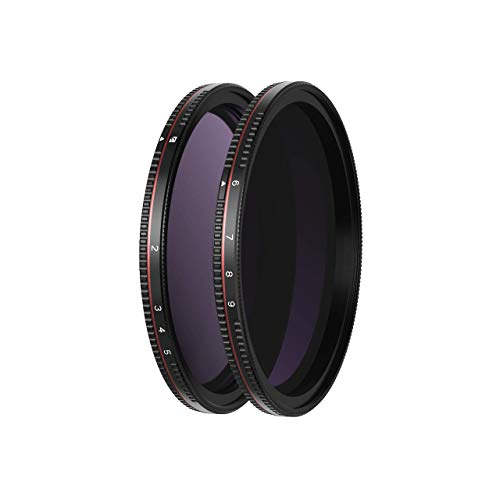 Freewell 82mm Threaded Hard Stop Variable ND Filter All Day 2 to 5 Stop & 6 to 9 Stop - 2Pack