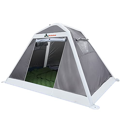 Zealwind 2 Person Camping Tent - Waterproof Lightweight Outdoor Inflatable Camp Tents, Easy Set Up Small Instant Tents for Hiking Beach with Air Pump and Backpacking Bags(White)