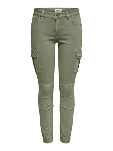 ONLY Damen Cargohose Knöchellange Cargohose 3432Oil Green