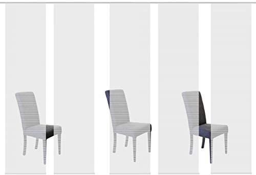 Vision S 95401 | 5er-Set Schiebegardine ROM | halb-transparenter Stoff in Bambus-Optik | 5X 260x60 cm | Farbe: (grau)