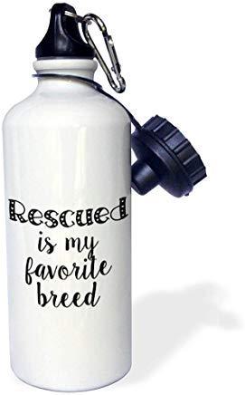 GFGKKGJFD603 Lenas Photos Bouteille d'eau en Aluminium avec Paille Inscription Rescued is My Favorite Breed Blanc