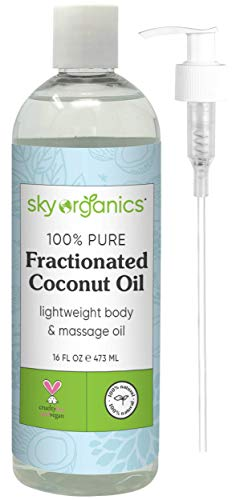 Fractionated Coconut Oil by Sky Organics (16 oz) Natural Fractionated Coconut Oil MCT Oil Moisturizing Coconut Carrier Oil Body Oil Coconut Makeup Remover Coconut Oil for Hair Skin DIY Fragrance Free