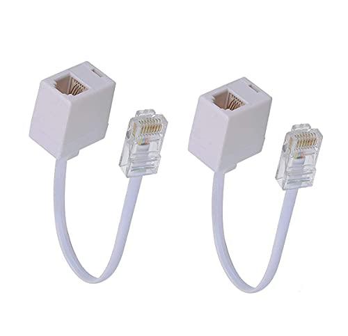 SHONCO RJ45 a RJ11 Convertidor Adaptador Conector M/F, Teléfono RJ11 6P4C Hembra a Ethernet RJ45 8P8C Macho Cable Convertidor (2 unidades) - A3