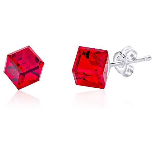 DTP Silver - Pendientes Semental de plata en forma cuadrada/cubo - Plata 925 con Cristal Swarovski 6 x 6 mm – Color: Rojo Siam