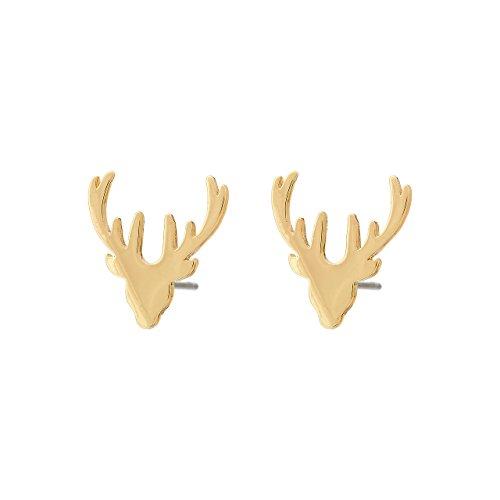 Selia Origami Pendiente de Ciervo de Bambi - Pendientes para Oreja de Declaración de Asta Minimalista - Con Aspecto Brillante