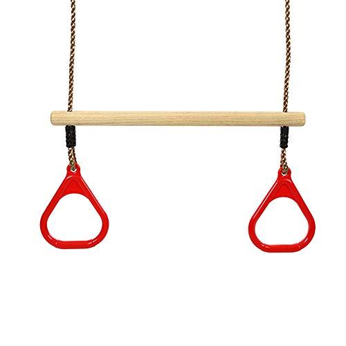 CDSVP Trapeze Bar Ringe Schaukel, Wippe, Kinder Erwachsene Trapeze Swing Bar Mit Ringen Aus Holz Spielset Mit Kunststoff-Ringe Gym Ringe Für Kinder 2 in 1 Schaukel Zubehör Baby Fitness,Rot