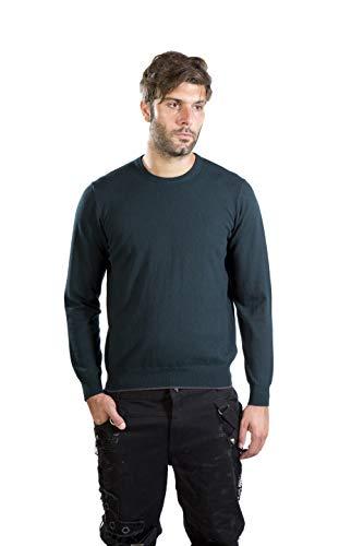 MY BASIC Namani - Maglione Uomo in Lana-Cashmere con Toppe (XL, Verde Scuro)