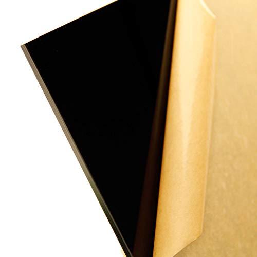 "1/4"" (6mm) Black Acrylic Plexiglass Sheet 24"" x 12"" Cast Thick AZM"