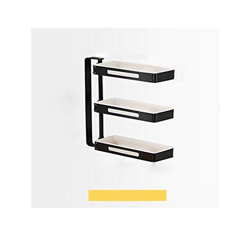 LICHAO Nicht perforiertes Wand-Lagerregal, multifunktionales Lagerregal mit Rota-Tisch in Schwarz und Weiß, Einsetzbar in Küche, Bad, Wohnzimmer usw.