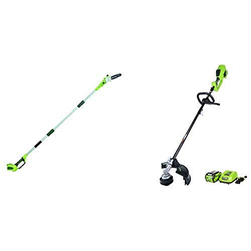 Greenworks 8' 40V Cordless Pole Saw, Battery Not Included 20302 with 14-Inch 40V Cordless String Trimmer (Attachment Capable), 4.0 AH Battery Included 21362