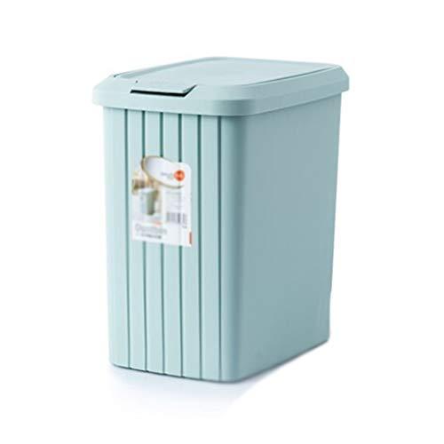Cubo de Basura de Interior Bote de basura Prensa Tipo bote de basura con tapa Domésticos de Cocina cuarto de baño salón bote de basura 10 / 13L (2.6 / 3.4 galones) Azul Papeleras de la Cocina de la Ce