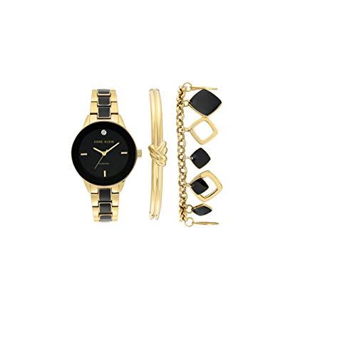 Anne Klein Women's Genuine Diamond Dial Gold-Tone and Black Watch with Bracelet Set, AK/3348BKST